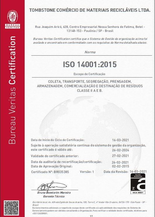 Certificado ISO 14001:2015